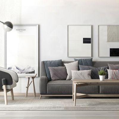 简约灰色沙发、茶几组合