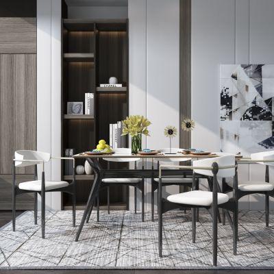 现代实木餐桌椅3D模型