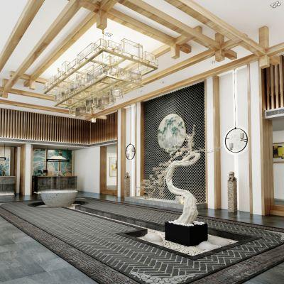 新中式盆栽大堂门厅