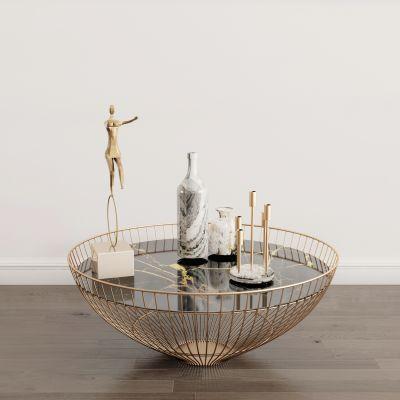 现代茶几摆件组合3D模型