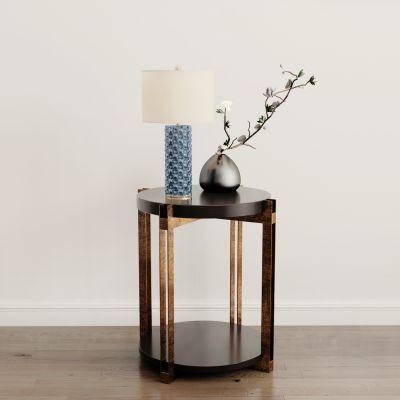 现代圆几台灯花瓶组合