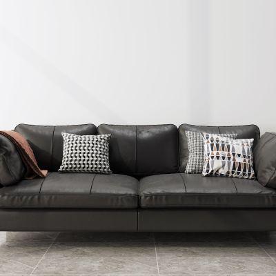 现代黑色多人沙发