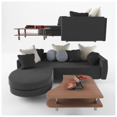 现代黑色沙发组合