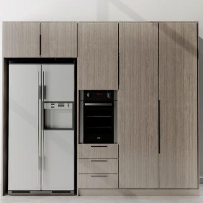 现代简约橱柜冰箱烤箱组合