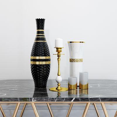 现代烛台瓷器摆件组合