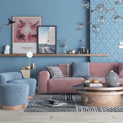 北欧沙发茶几花瓶摆件组合3D模型