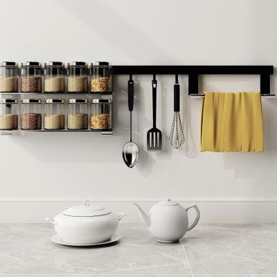 现代储物罐器皿茶壶置物架组合