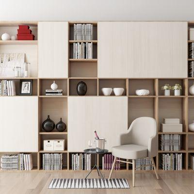 现代书柜单椅组合