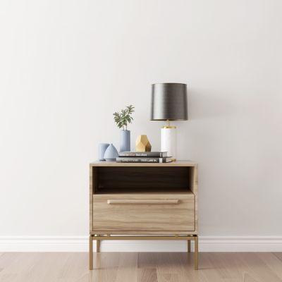 现代实木床头柜台灯摆件组合
