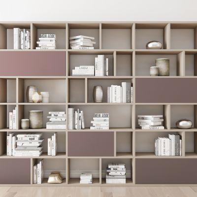 现代实木书柜书籍摆件组合3D模型