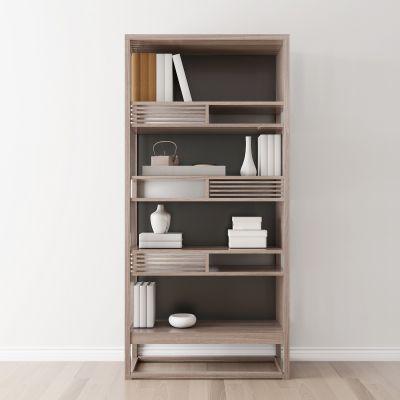 新中式实木书柜书籍摆件组合3D模型