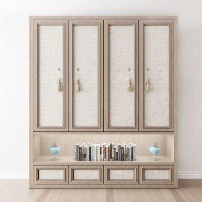 新中式衣柜书籍摆件组合