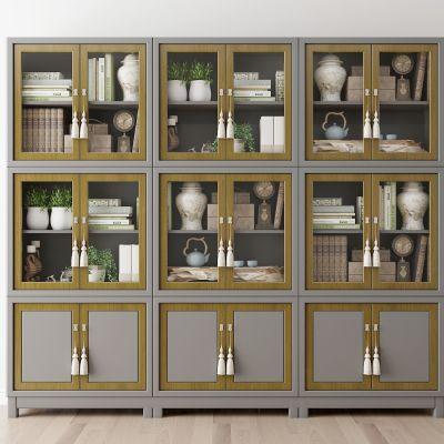 现代书柜书籍组合3D模型