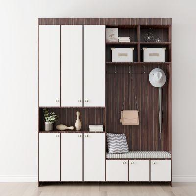 现代实木鞋柜摆件组合