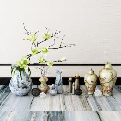 新中式瓷器花瓶花卉摆件组合