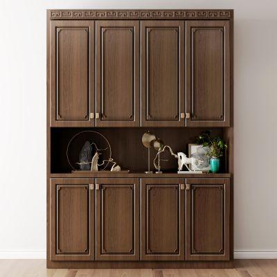 新中式实木鞋柜摆件组合