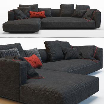 现代黑色布面多人沙发