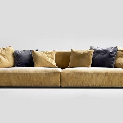 北欧黄色多人沙发