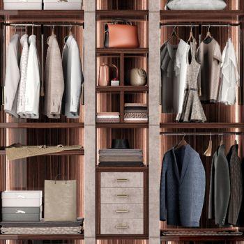 现代衣柜、衣服、包包组合