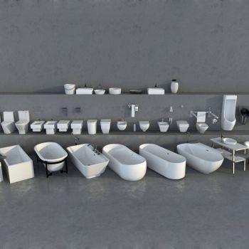 现代浴室浴缸、蹲厕组合