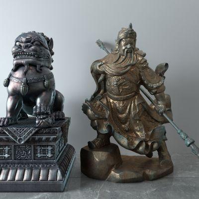 关羽,关公,青铜雕像,石狮子
