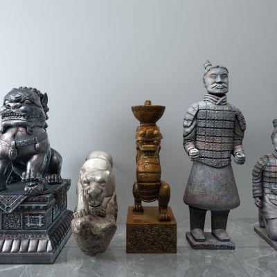 狮子,豹子,兵马俑青铜雕塑
