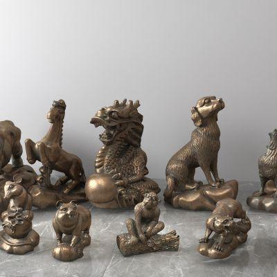 十二生肖青铜雕塑
