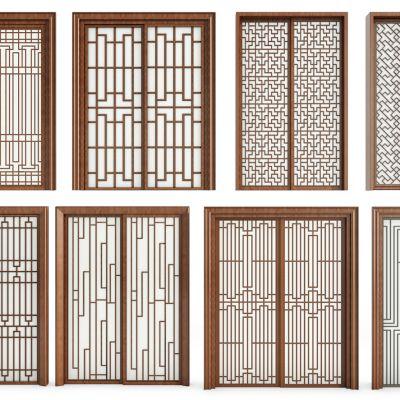 中式实木窗花推拉门组合