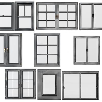 现代实木窗户组合