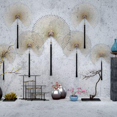 新中式摆件墙饰3D模型