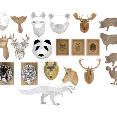 鹿头动物挂件