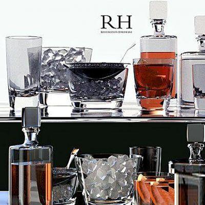 红酒杯子组合国外3D模型下载