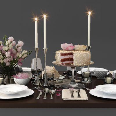 餐桌摆件餐具烛台插花
