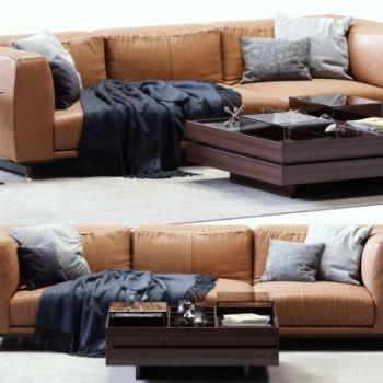 美式三人沙发