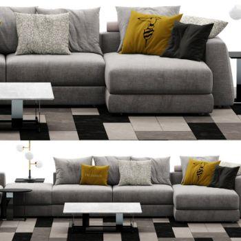 现代灰色多人沙发