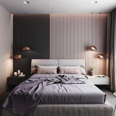 现代双人床吊灯床头柜组合