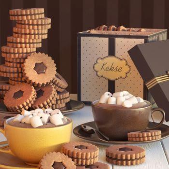 简欧下午茶巧克力饼干摆件