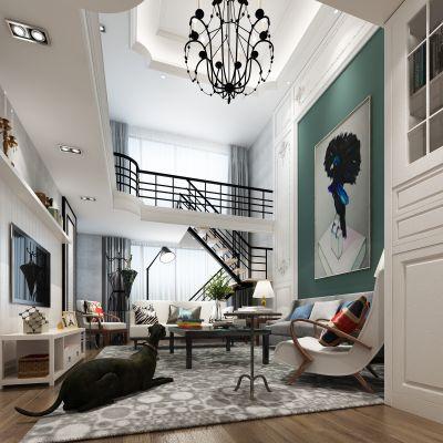 北欧别墅客厅3D模型
