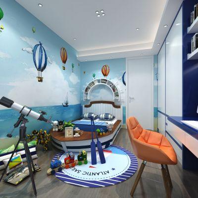 海盗船主题男孩房3D模型