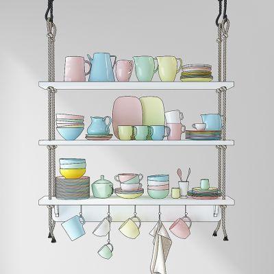 厨房餐具盘子水壶水杯