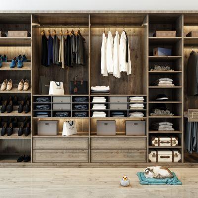 现代木纹衣柜