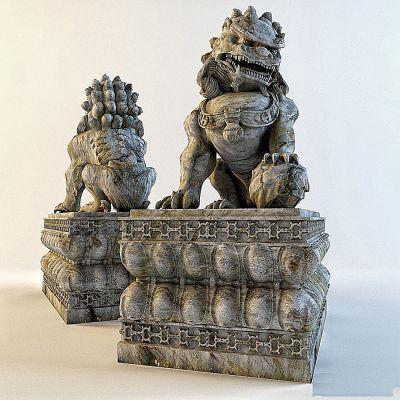 高精度石狮子雕塑模型
