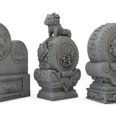 新中式抱鼓石鼓石雕塑组合