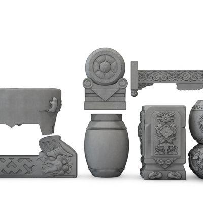 中式抱鼓石凳雕塑挂落组合石鼓