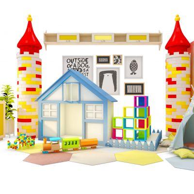 现代儿童卡通城堡玩具