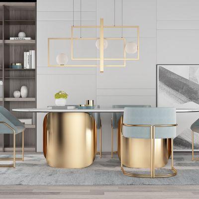 现代轻奢设计金属餐桌椅3D模型