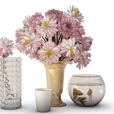 现代花瓶鱼缸杯子组合