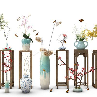 新中式花瓶花卉盆栽角几圆几花架
