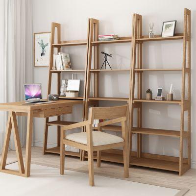 实木 书桌 书架 3D模型