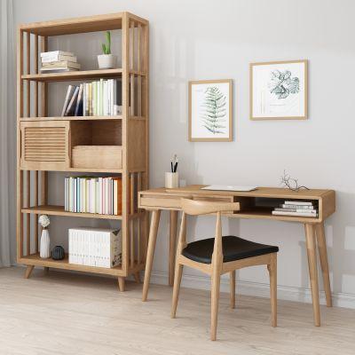 实木 书桌 书柜 3D模型